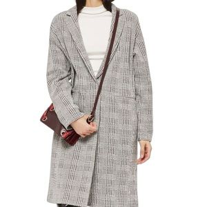 Topshop Jersey Checked / Houndstooth Long Coat